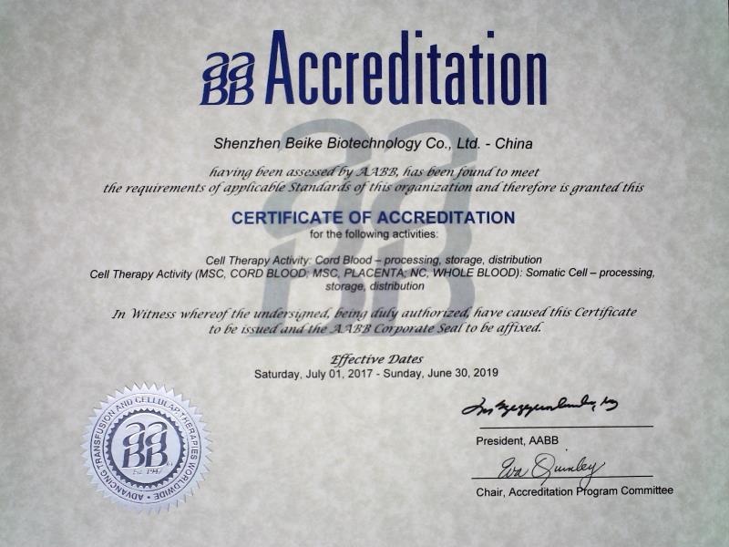 Certyfikat certyfikacji AABB przyznawany firmie Beike Biotechnology